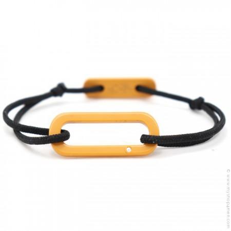 Bracelet oval jaune safran cordon noir