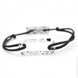 Bracelet oval camo blanc cordon noir
