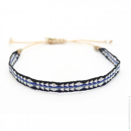 Bracelet Argentinas noir argent bleu