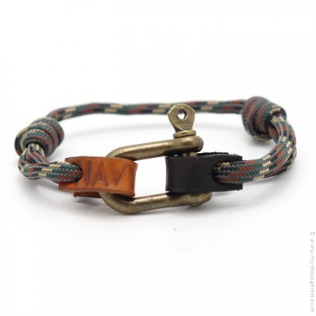 Bracelet Fisherman camouflage laiton antique