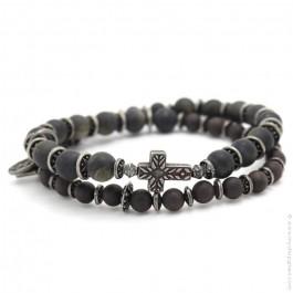Bracelet Apalache cross black obsidian mat