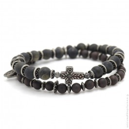 cross black mat obsidian Apalache bracelet