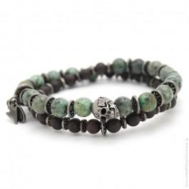 Skull green turquoise Apalache bracelet