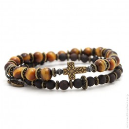 Bracelet Apalache cross tiger eyes