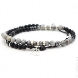 Les Belles Persones black matt onyx and jasper grey bracelet