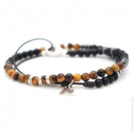 Les Belles Persones black matt onyx tiger eye bracelet