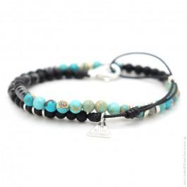 Les Belles Persones black matt onyx and turquoise bracelet