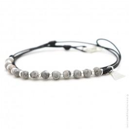 Les Belles Personnes Roll XS jasper grey bracelet