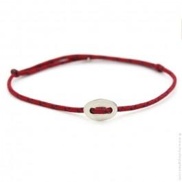 Bracelet bouton argent et corde rouge et marine