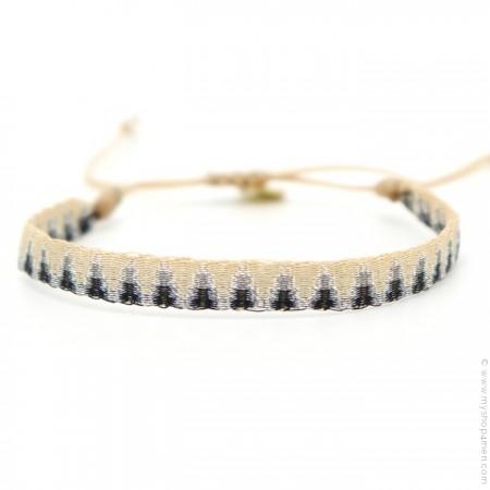 Bracelet Argentinas noir argent beige